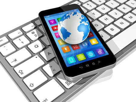 3D Smartphone with apps icons on Computer Keyboard and World Globe isolated on white photo