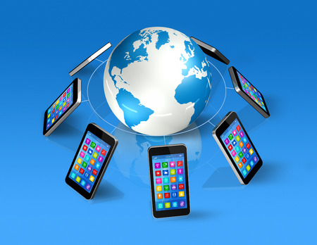 3D Smartphones Around World Globe, isolated on blue - Global Communication Concept photo