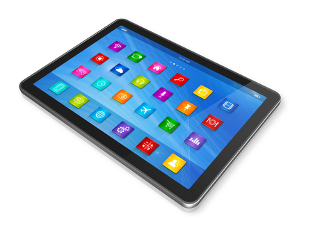 3D Digital Tablet Computer - apps icons interface - isolated on white with clipping path photo