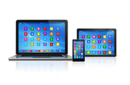 digital tablet: 3D Smartphone, Digital Tablet Computer and Laptop isolated on white