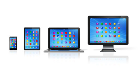 tv network: 3D Smartphone, Digital Tablet Computer, Laptop and Monitor isolated on white