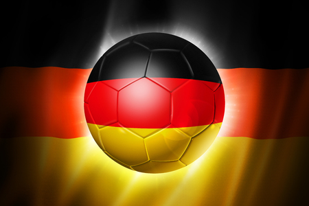 3D soccer ball with Germany team flag, world football cup Brazil 2014 Stock Photo