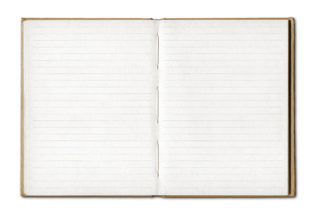 Vintage blank open notebook isolated on white with clipping path