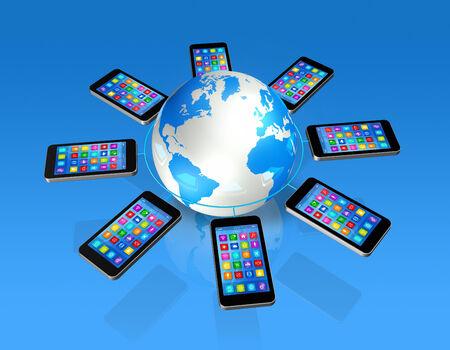 3D Smartphones Around World Globe, isolated on blue photo