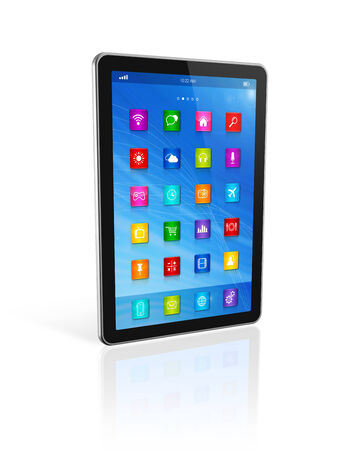3D Digital Tablet Computer isolated on white with clipping path Stock Photo - 25958437