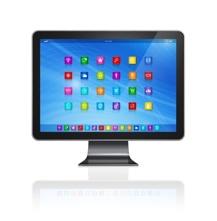 3D TV - Computer - apps icons interface - isolated on white with clipping path photo