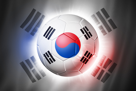 3D soccer ball with South Korea team flag, world football cup Brazil 2014 photo