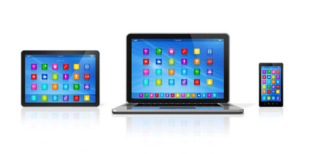 3D Smartphone, Digital Tablet Computer and Laptop isolated on white with clipping path photo