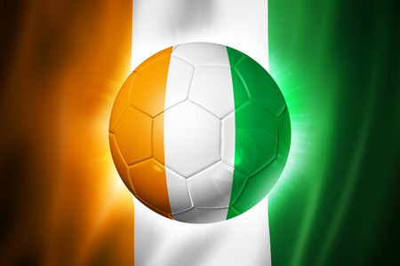 3D soccer ball with Ivory Coast team flag, world football cup Brazil 2014 Stock Photo