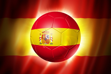 3D soccer ball with Spain team flag, world football cup Brazil 2014 Banque d'images