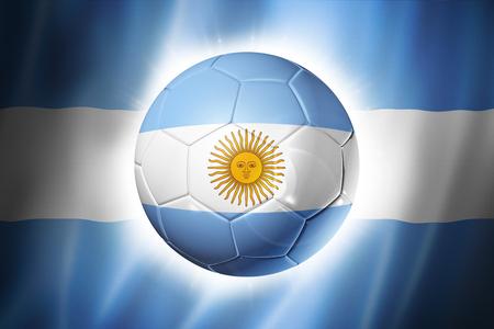 3D soccer ball with Argentina team flag, world football cup Brazil 2014