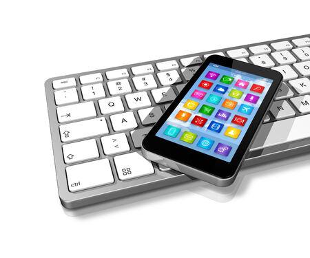 teclado de computadora: Smartphone 3D en el teclado de ordenador
