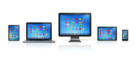 3D Smartphone, Digital Tablet Computer, Laptop and Monitor isolated on white with clipping path photo