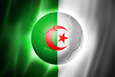3D soccer ball with Algeria team flag, world football cup Brazil 2014 photo
