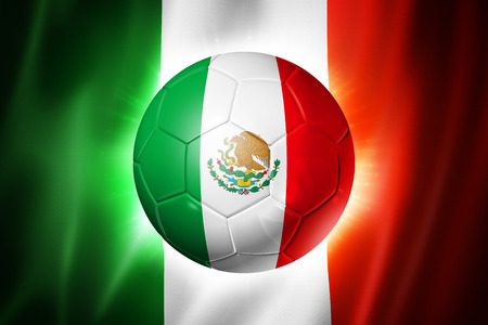 3D soccer ball with Mexico team flag, world football cup Brazil 2014 photo