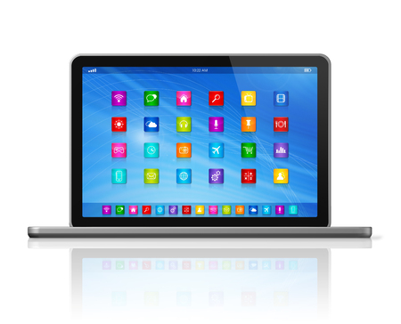3D Laptop Computer - apps icons interface - isolated on white with clipping path photo