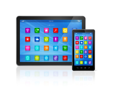 3D Smartphone and Digital Tablet Computer isolated on white with clipping path photo