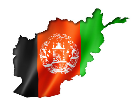 Afghanistan flag map, three dimensional render, isolated on white photo