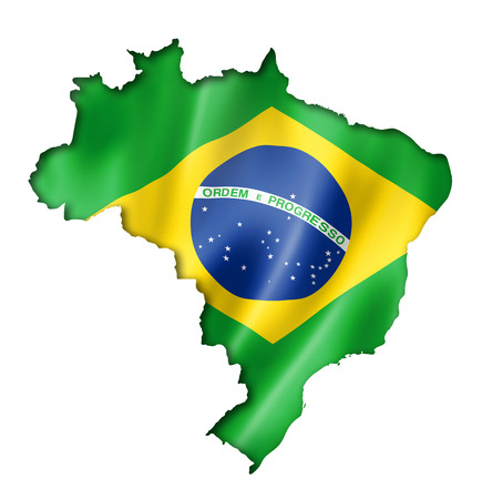 Brazil flag map, three dimensional render, isolated on white Фото со стока