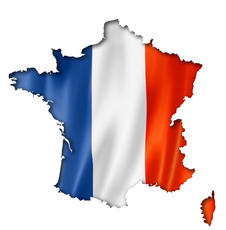 France flag map, three dimensional render, isolated on white