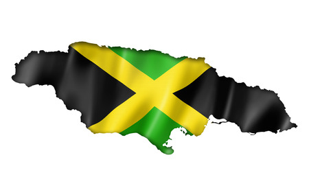 Jamaica flag map, three dimensional render, isolated on white photo