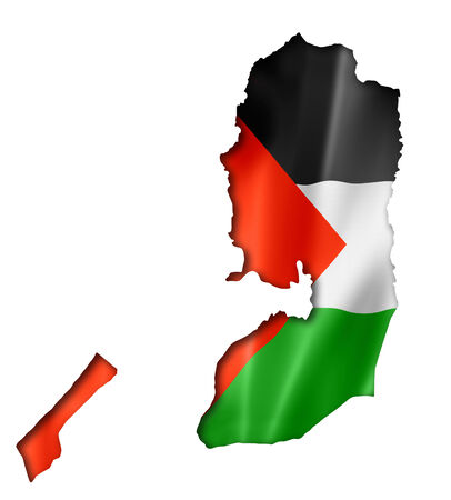 palestinian: Palestine flag map, three dimensional render, isolated on white Stock Photo