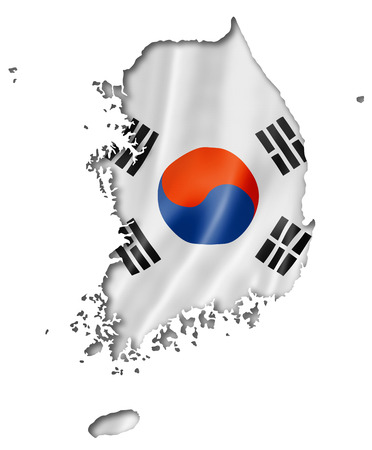 South Korea flag map, three dimensional render, isolated on white photo