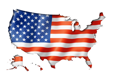 USA flag map, three dimensional render, isolated on white