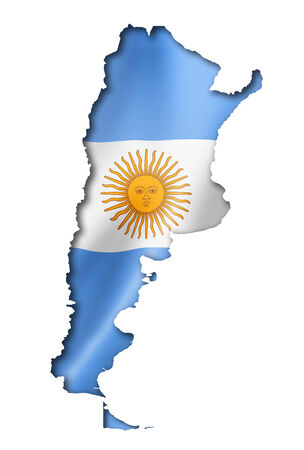 Argentina flag map, three dimensional render, isolated on white photo