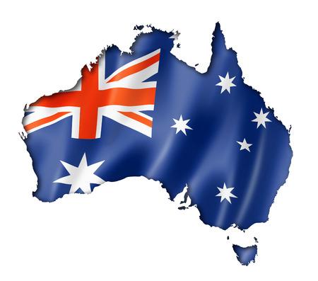 オーストラリアの国旗のマップ、白で隔離され、3 つの 3次元レンダリング