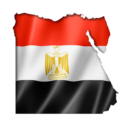 bandera de egipto: Egipto, mapa, bandera, tres de representación tridimensional, aislado en blanco