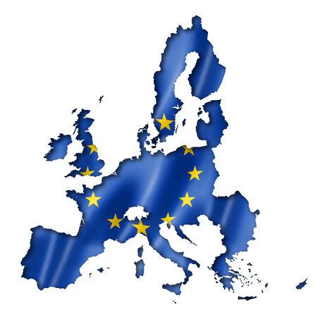 European union flag map, three dimensional render, isolated on white photo