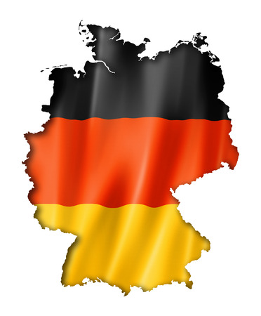 three dimensional: Germany flag map, three dimensional render, isolated on white