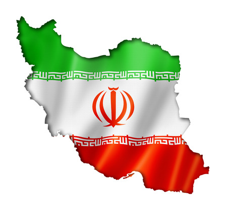 Iran flag map, three dimensional render, isolated on white photo