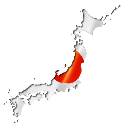 Japan flag map, three dimensional render, isolated on white