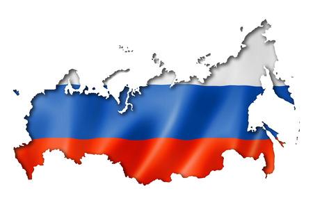 bandera rusia: Rusia, mapa, bandera, render tridimensional, aislado en blanco Foto de archivo