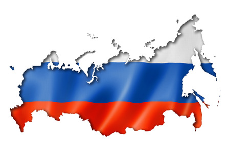 russia map: Russia flag map, three dimensional render, isolated on white