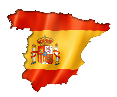 spain: Spain flag map, three dimensional render, isolated on white