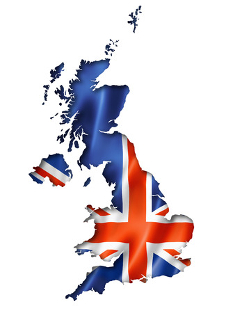 United Kingdom, UK flag map, three dimensional render, isolated on white