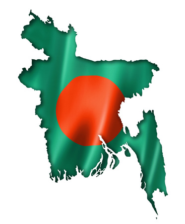 Bangladesh flag map, three dimensional render, isolated on white