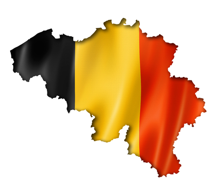 Belgium flag map, three dimensional render, isolated on white photo