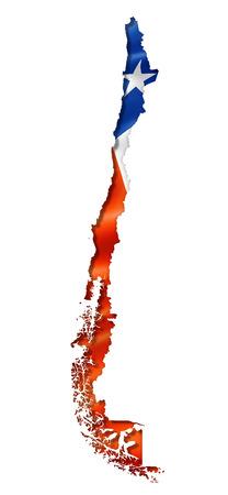 bandera chilena: Chile, mapa, bandera, tres de representación tridimensional, aislado en blanco Foto de archivo