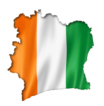 Ivory Coast flag map, three dimensional render, isolated on white