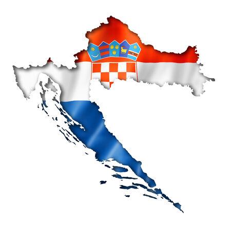bandera de croacia: Croacia, mapa, bandera, tres de representación tridimensional, aislado en blanco