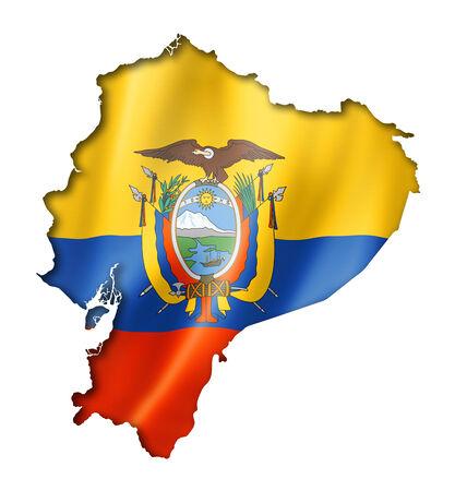 ecuador: Ecuador flag map, three dimensional render, isolated on white