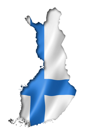 three dimensional shape: Finland flag map, three dimensional render, isolated on white