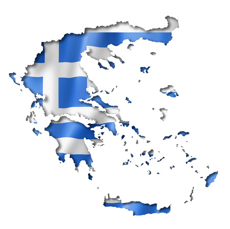 greece map: Greece flag map, three dimensional render, isolated on white