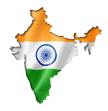 India flag map, three dimensional render, isolated on white photo