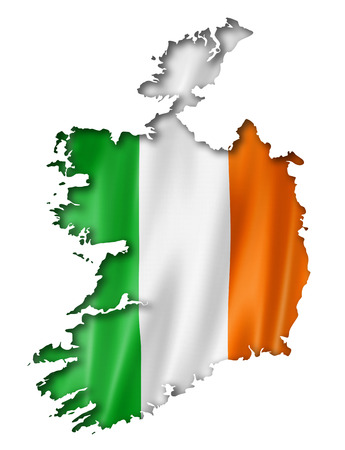 Ireland flag map, three dimensional render, isolated on white photo