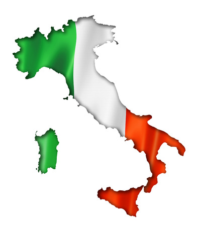 Italy flag map, three dimensional render, isolated on white Foto de archivo